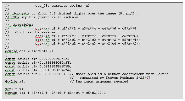 Code for 7 digit cosine(x) approximation