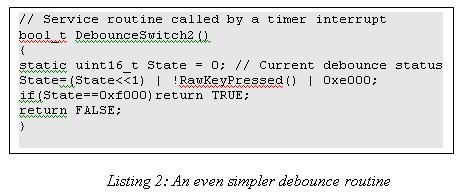 Simple debouncing code