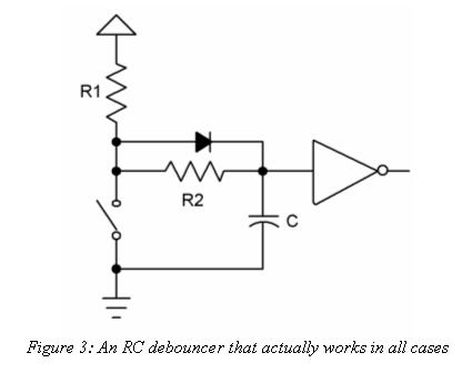 Complete RC debouncer circuit
