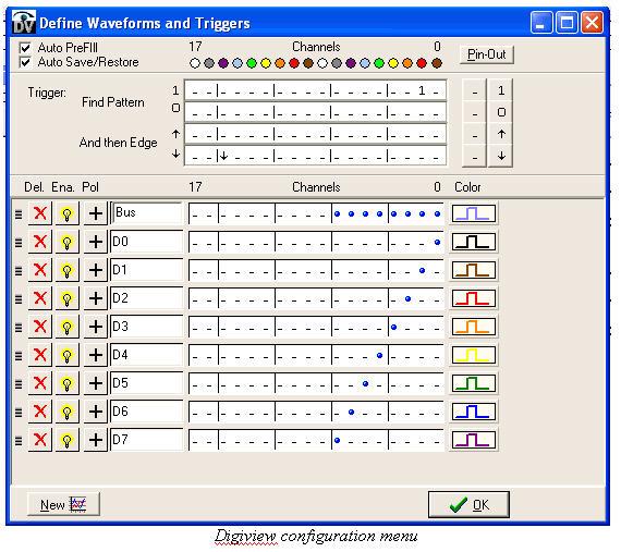 digiview configuration menu screen