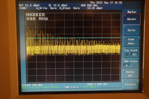 Spectrum analyzer view of 74AUC08 rise time